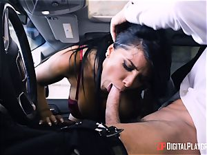 Romi Rain romped in the back of the car