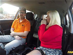 My 50 year senior mom Lacey Starr gets her huge fuckbox pulverized in the car