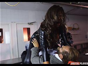 gasping babes Amirah Adara and Ava Koxxx take large spunk-pump down the hatch
