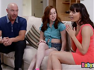 Ginger sitter has sizzling threesome with worshiping milf
