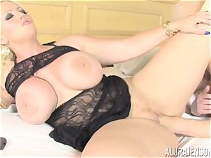 biz chick Alura Jenson makes her worker gobble out his own jism out of her twat
