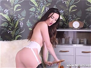 brown-haired teases in nylons stilettos takes off for you to jack
