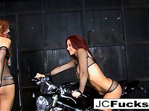 The 2 Jaydens get wet and ultra-kinky on a motorcycle