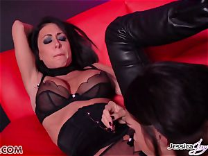 Jessica Jaymes poked by Alison Tyler using a belt dick