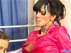 Bukkaked les titfucked by female dom with strapon