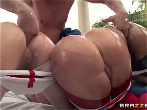ass fucking fuck-a-thon with 3 nasty large bum cocksluts Krissy Lynn, Nikki Delano and Rose Monroe