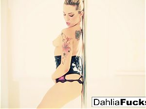 Dahlia faux-cocks her cock-squeezing wet snatch