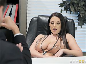 naughty brunette Angela white poked over the table