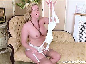 light-haired milf unwraps off retro lingerie bangs tasty cunt