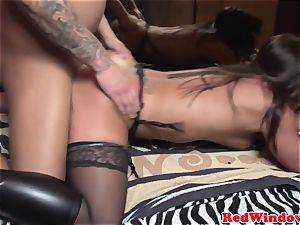 Real dutch escort doggystyled in stocking