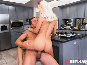 screwing man-meat deep into Elsa Jean nuts deep in the kitchen