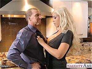 fantastic Bridgette B. takes penis between her mammories and vagina lips