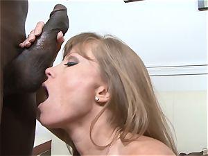 Darla Crane ravages ebony rod before her husband cleans up