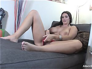 large breasted Alison Tyler plays with her warm raw cootchie