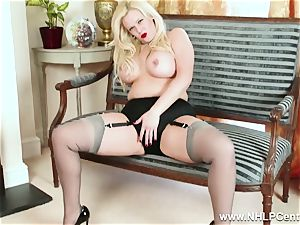 bootylicious blond strokes in grey nylons and high heels